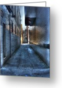 Asphalt Digital Art Greeting Cards - In the Alley Greeting Card by Dan Stone