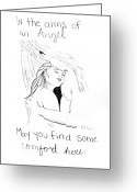 Embrace Drawings Greeting Cards - In the arms of an angel Greeting Card by Rebecca Wood