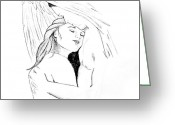 Embrace Drawings Greeting Cards - In the arms of an angel without quote Greeting Card by Rebecca Wood