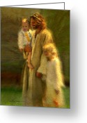 Religious Art Painting Greeting Cards - In the Arms of His Love Greeting Card by Greg Olsen