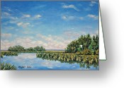 Tidal River Greeting Cards - In The Backwater Greeting Card by Stanton D Allaben
