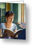 Girl Portrait Greeting Cards - In The Book Store Greeting Card by Irina Sztukowski
