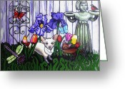 Portraits Greeting Cards - In The Chihuahua Garden Of Good and Evil Greeting Card by Genevieve Esson