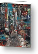 Cities Art Painting Greeting Cards - In the City Greeting Card by Frances Marino
