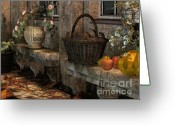 Autumn Colors Greeting Cards - In the Courtyard Greeting Card by Jutta Maria Pusl