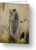 Passerines Greeting Cards - In The Elysian Fields Greeting Card by Gothicolors With Crows