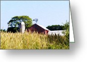 Silo Greeting Cards - In the Farmers Field Greeting Card by Bill Cannon