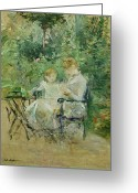 Sat Greeting Cards - In the Garden Greeting Card by Berthe Morisot