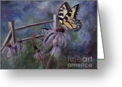 Butterflies And Blue Flowers Greeting Cards - In the Garden Greeting Card by Brenda Thour
