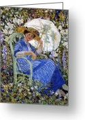 Frederick Greeting Cards - In the Garden Greeting Card by Frederick Carl Frieseke