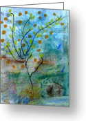 Orange Pastels Greeting Cards - In The Garden Greeting Card by Patricia Januszkiewicz
