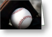 Baseball Photographs Greeting Cards - In the Glove Greeting Card by John Rizzuto