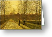 Tree-lined Greeting Cards - In the Golden Gloaming Greeting Card by John Atkinson Grimshaw