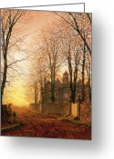 Bare Trees Greeting Cards - In the Golden Olden Time Greeting Card by John Atkinson Grimshaw