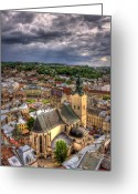 Church Photo Greeting Cards - In the Heart of the City Greeting Card by Evelina Kremsdorf