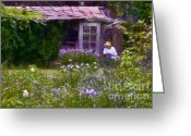 Shed Greeting Cards - In the Iris Garden Greeting Card by Susan Isakson