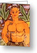 Man Ceramics Greeting Cards - In the Jungle Greeting Card by Patricia Lazar