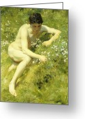 Signed Greeting Cards - In the Meadow Greeting Card by Henry Scott Tuke