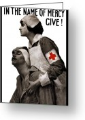 Health Care Greeting Cards - In The Name Of Mercy Give Greeting Card by War Is Hell Store