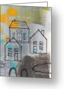 Urban Mixed Media Greeting Cards - In The Neighborhood Greeting Card by Linda Woods