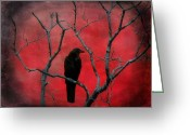 Surreal Art Greeting Cards - In The Red Greeting Card by Gothicolors With Crows