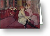 Toulouse-lautrec; Henri De (1864-1901) Greeting Cards - In the Salon at the Rue des Moulins Greeting Card by Henri de Toulouse-Lautrec
