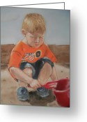 Toys Pastels Greeting Cards - In The Sandbox Greeting Card by Barbara Gulotta