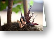 Fairies Art Greeting Cards - In the shade 2 Greeting Card by Angelina Cornidez