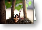 Fairies Art Greeting Cards - In the shade Greeting Card by Angelina Cornidez
