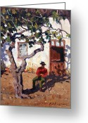 Roelof Rossouw Greeting Cards - In the Shade of the Old Fig Greeting Card by Roelof Rossouw