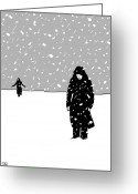 Snow Storm Greeting Cards - In the snow Greeting Card by Giuseppe Cristiano