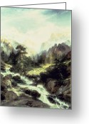 Great Painting Greeting Cards - In the Teton Range Greeting Card by Thomas Moran