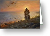 Sunrise Greeting Cards - In the World Not of the World Greeting Card by Greg Olsen