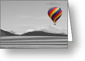 Selective Color Greeting Cards - In Their Own World Colorado Ballooning Greeting Card by James Bo Insogna