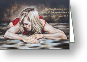 Woman Figure Greeting Cards - In Thought Greeting Card by Ilse Kleyn