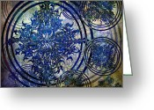 Ptolemaic Greeting Cards - In Triplicate Blue Greeting Card by Angelina Vick