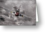 P-51 Mustang Greeting Cards - In Your Face Greeting Card by Peter Chilelli
