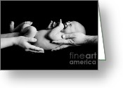 Newborn Greeting Cards - In Your Hands Greeting Card by Sebastian Musial