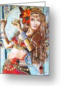 Belly Dance Greeting Cards - Incense Greeting Card by Stephanie Bolton