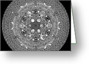 Radial Design Greeting Cards - Inclusion Greeting Card by Matthew Ridgway