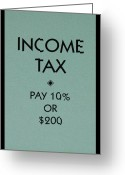 Monopoly Digital Art Greeting Cards - Income Tax Greeting Card by Rob Hans