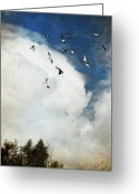 On The Move Greeting Cards - Incoming Storm And Flock Of Birds Greeting Card by Susan Gary