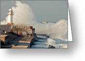 Rough-seas Greeting Cards - Incoming tide South Gare Greeting Card by Gary Eason
