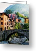 Lake Como Greeting Cards - Incomming Fog Greeting Card by John and Tina Reid
