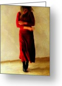 Red Dress Greeting Cards - Indecition Greeting Card by Gun Legler
