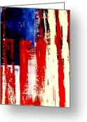 Red White And Blue Mixed Media Greeting Cards - Independence Day Greeting Card by Charles Jos Biviano