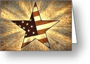 4th July Digital Art Greeting Cards - Independence Day Stary American Flag Greeting Card by Georgeta  Blanaru