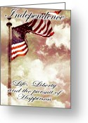 Flag Day Greeting Cards - Independence Day USA Greeting Card by Phill Petrovic