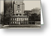 Clock Greeting Cards - Independence Hall Greeting Card by Bill Cannon