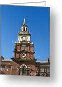 Independence Park Greeting Cards - Independence Hall Greeting Card by John Greim